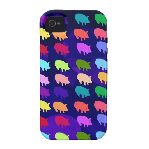 Cerdos del arco iris vibe iPhone 4 carcasas