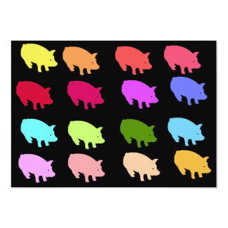 """Cerdos del arco iris invitación 5"""" x 7"""""""