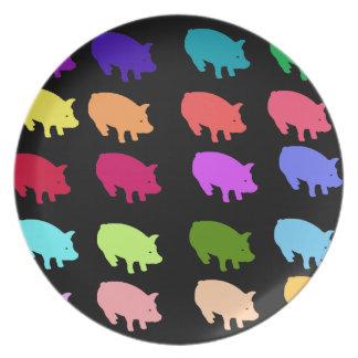 Cerdos del arco iris platos