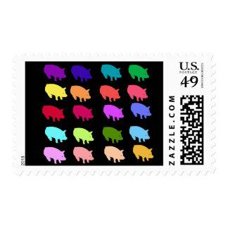 Cerdos del arco iris sello postal