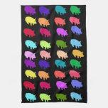 Cerdos del arco iris toalla de mano