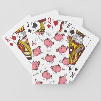 Cerdos del creyón del niño lindo barajas de cartas