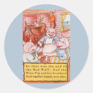 Cerdos del cuento de hadas tres del vintage pegatina redonda
