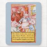 Cerdos del cuento de hadas tres del vintage pequeñ tapetes de ratones
