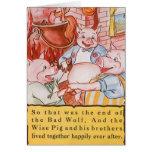 Cerdos del cuento de hadas tres del vintage pequeñ felicitación