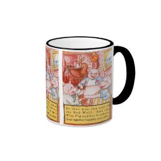 Cerdos del cuento de hadas tres del vintage pequeñ taza de café