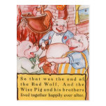 Cerdos del cuento de hadas tres del vintage postal