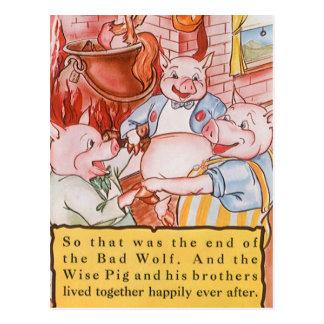 Cerdos del cuento de hadas tres del vintage postales