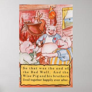 Cerdos del cuento de hadas tres del vintage póster