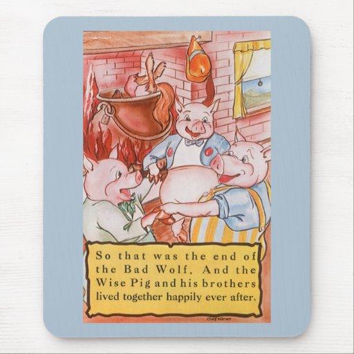 Cerdos del cuento de hadas tres del vintage alfombrilla de ratón
