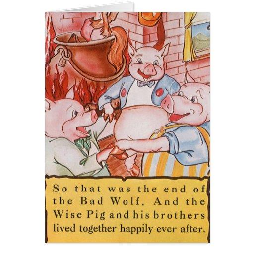 Cerdos del cuento de hadas tres del vintage tarjeta de felicitación
