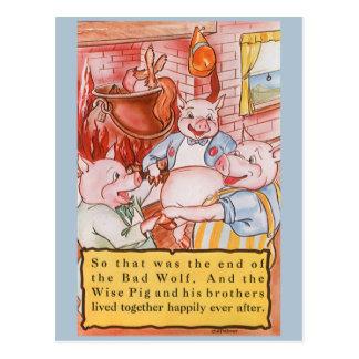 Cerdos del cuento de hadas tres del vintage tarjetas postales