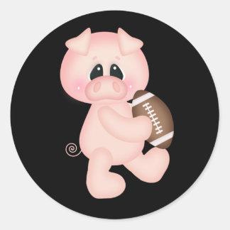 Cerdos del fútbol pegatina redonda