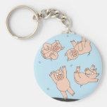 Cerdos del trampolín llavero redondo tipo pin