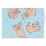 Cerdos del trampolín tarjetas