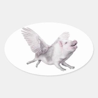 Cerdos del vuelo de la alegría de la posibilidad pegatina ovalada