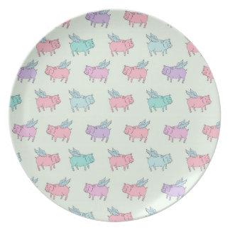 Cerdos del vuelo - verde en colores pastel plato para fiesta