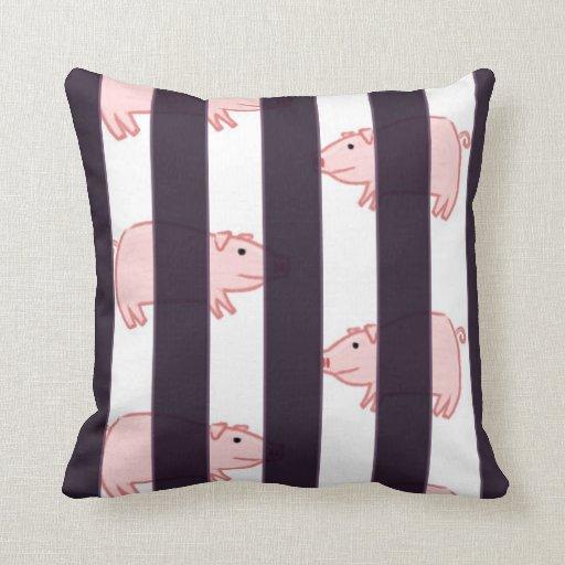 cerdos detrás de rejillas cojín