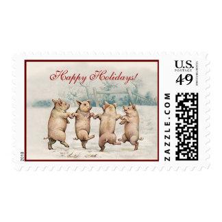 Cerdos divertidos lindos del baile - navidad del sello postal