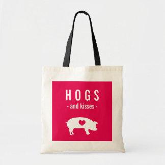 Cerdos divertidos y besos de la tarjeta del día de bolsa tela barata