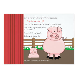 Cerdos en la invitación de la pluma invitación 12,7 x 17,8 cm