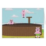 Cerdos en la tina del fango - tarjeta de felicitac