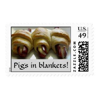 ¡Cerdos en mantas! Estampilla
