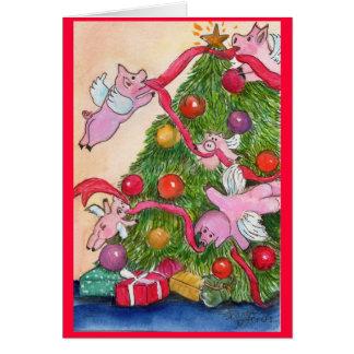 Cerdos felices DecorateTree del vuelo del día de Tarjeta De Felicitación