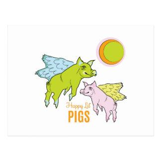 Cerdos felices tarjeta postal