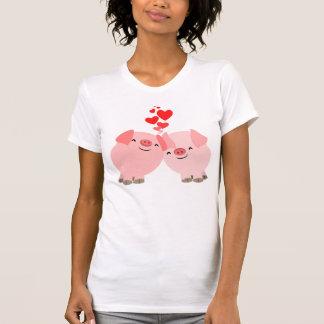 Cerdos lindos del dibujo animado en camiseta de
