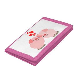 Cerdos lindos del dibujo animado en cartera del