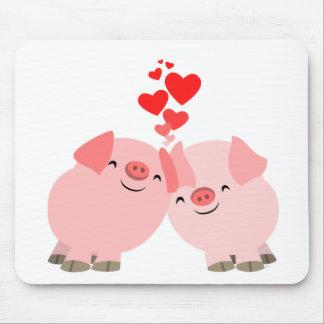 Cerdos lindos del dibujo animado en el amor Mousep Tapete De Ratones