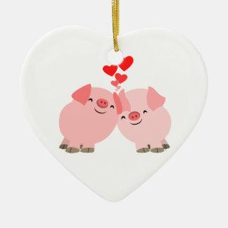 Cerdos lindos del dibujo animado en el ornamento ornamento de navidad