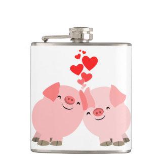 Cerdos lindos del dibujo animado en frasco de la c