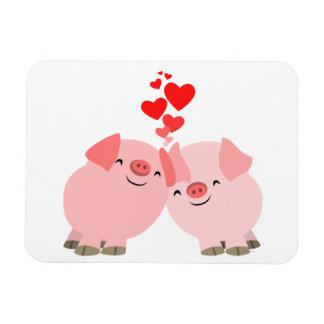 Cerdos lindos del dibujo animado en imán del premi