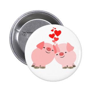 Cerdos lindos del dibujo animado en insignia del b pins