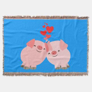Cerdos lindos del dibujo animado en manta del tiro