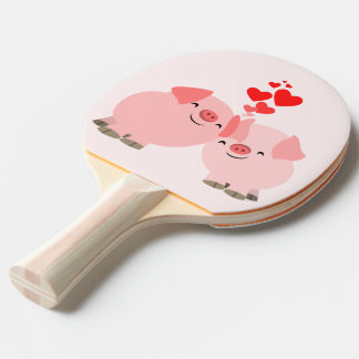 Cerdos lindos del dibujo animado en paleta del pala de tenis de mesa