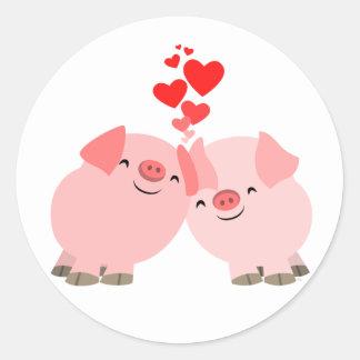 Cerdos lindos del dibujo animado en pegatina del