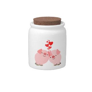 Cerdos lindos del dibujo animado en tarro del cara jarras para caramelos