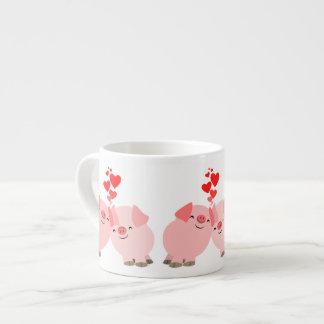 Cerdos lindos del dibujo animado en taza del café taza espresso