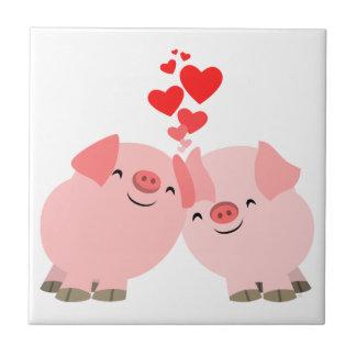 Cerdos lindos del dibujo animado en teja del amor