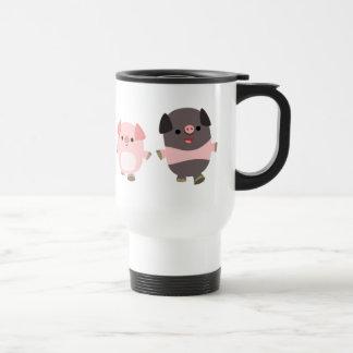 Cerdos lindos del dibujo animado en una taza del v