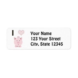 Cerdos lindos Desgin del corazón de I Etiqueta De Remite
