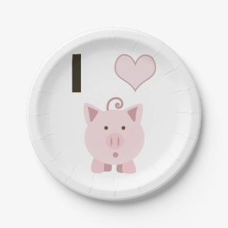Cerdos lindos Desgin del corazón de I Plato De Papel De 7 Pulgadas