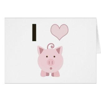 Cerdos lindos Desgin del corazón de I Tarjeta Pequeña