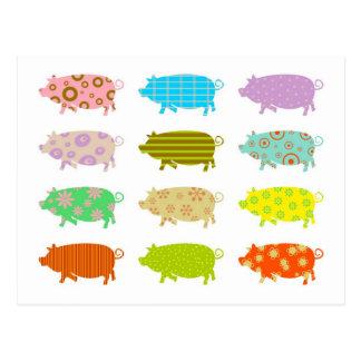 Cerdos modelados tarjeta postal
