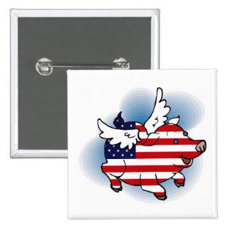 Cerdos patrióticos del vuelo - th del 4-4 de julio pin cuadrado