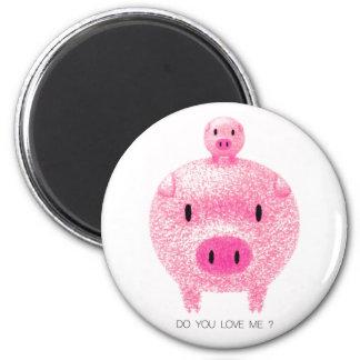 Cerdos rosados imán redondo 5 cm