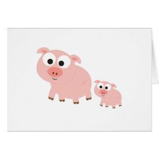 Cerdos rosados lindos tarjeta pequeña